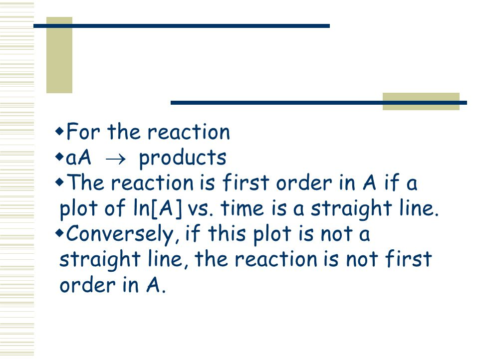 For the reaction aA  products. The reaction is first order in A if a plot of ln[A] vs. time is a straight line.